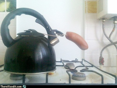 sausage,weenie,kettle,pot,stove,cooking,breakfast