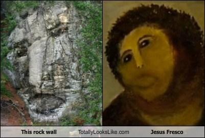 This Rock Wall Totally Looks Like Jesus Fresco