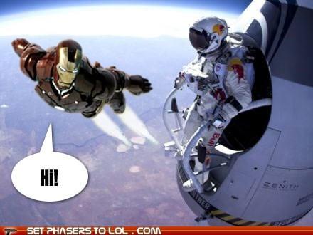 hi,space jump,show off,tony stark,iron man,astronaut,avengers