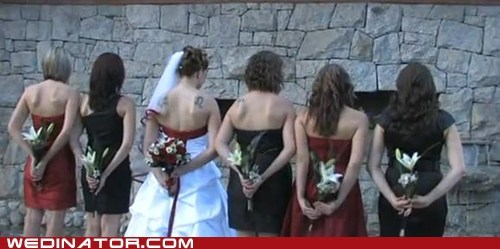 backs,bridal party,flowers,bouquets,weird