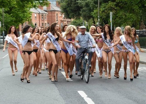 bikinis,bicycle,old man