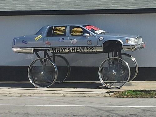 penny farthing,lifted car,bike wheels,pimp my ride