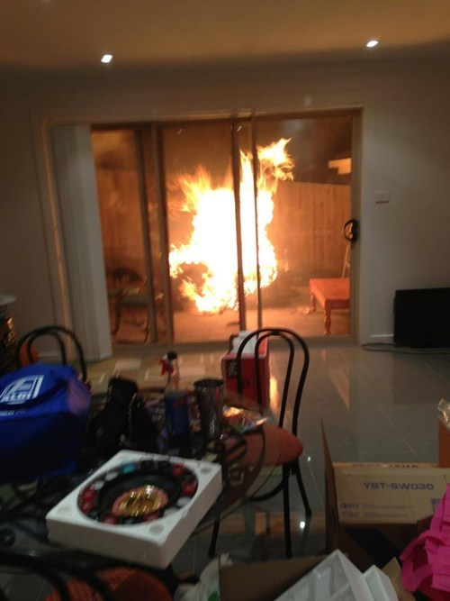 barbecue,fire,accident,fire extinguisher