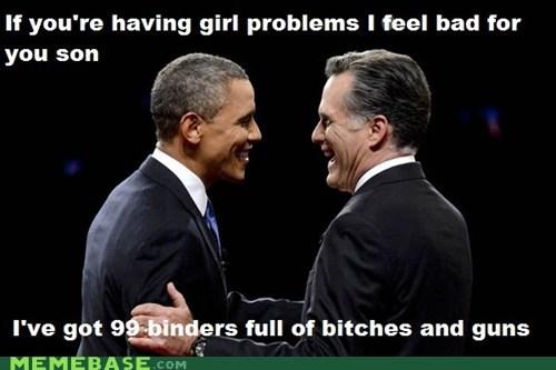 binders,Debates,Romney,obama,99 problems