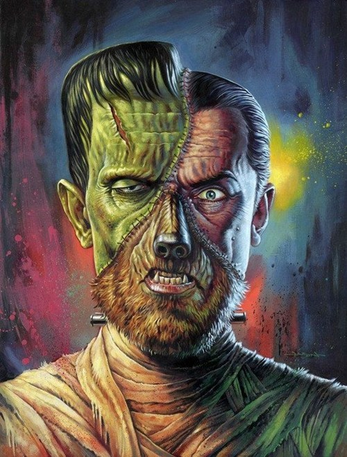 frankenstein,dracula,The Wolf Man,The Mummy,monster,art,mash up,halloween,ghoulish geeks,fan art