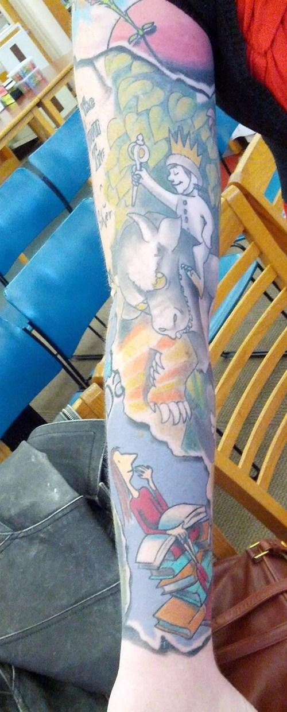 kickass-kids-librarian,tattoo sleeve