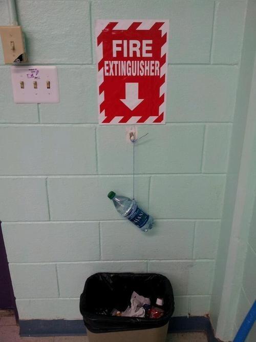 fire extinguisher,water bottle,fire