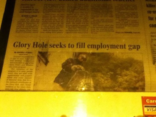 Probably bad News,news,glory hole,hole,wording,double entendre