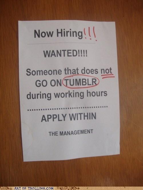 IRL,sign,hiring,tumblr