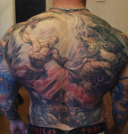 god of war,back tattoos