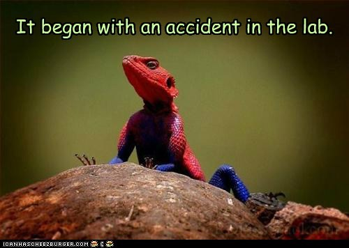 Spider-Man,accident,origin,lab,chameleon,lizard,superhero