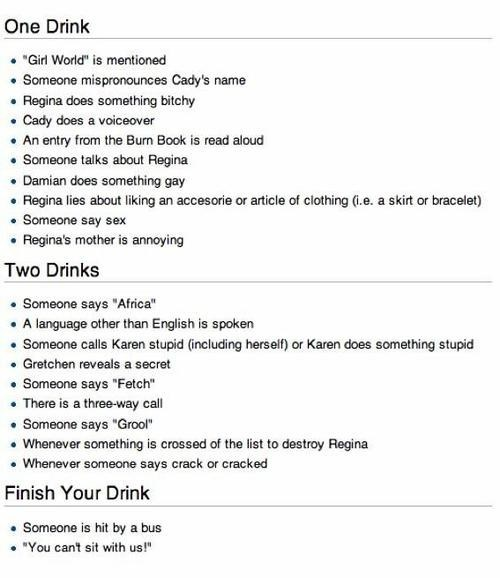 Mean Girls, the Drinking Game