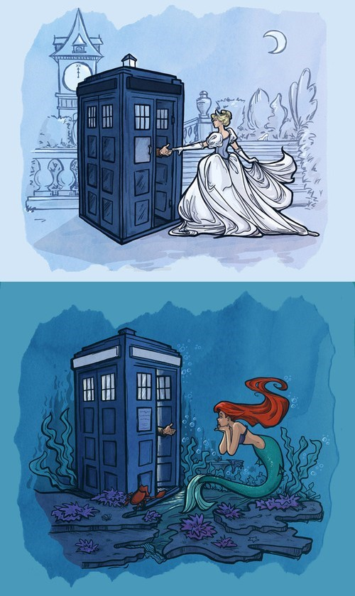 disney,princesses,doctor who,the doctor,cinderella,ariel,The Little Mermaid,companions