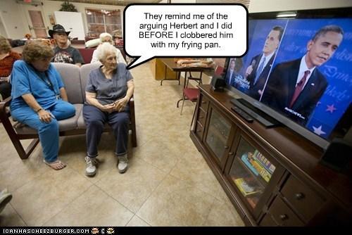 arguing,debate,watching,Mitt Romney,barack obama,frying pan,nostalgia