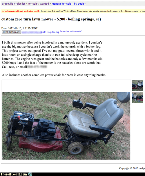 custom lawn mower,lawn mower,zero-turn mower,power chair,scooter,south carolina,craigslist