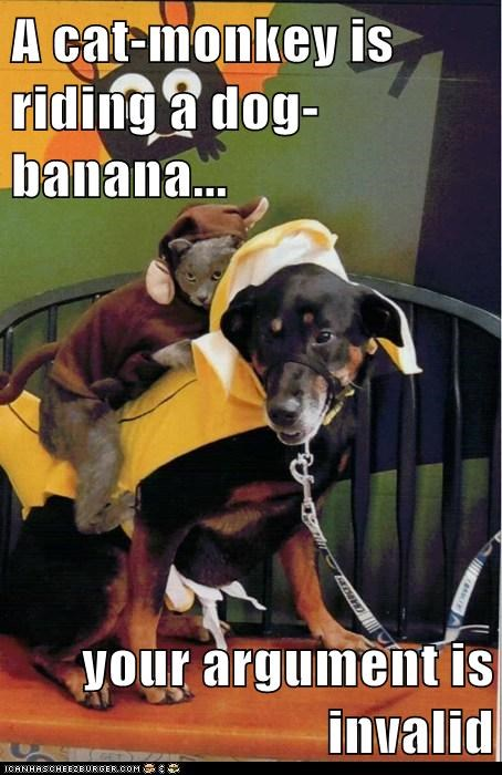 A cat-monkey is riding a dog-banana...  your argument is invalid