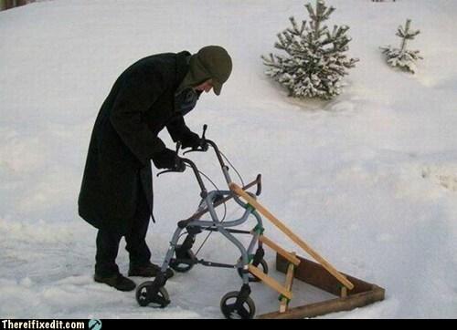 walker,old person,senior citizen,old guy,winter,snow,snow plow