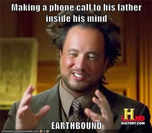 Making a phone call to his father inside his mind  EARTHBOUND