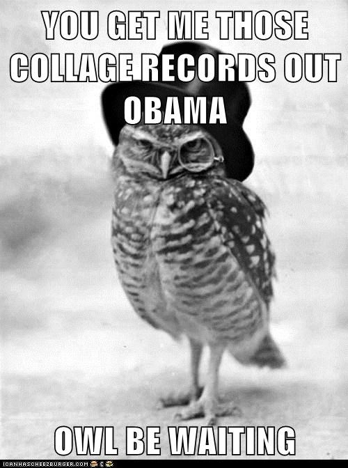 YOU GET ME THOSE COLLAGE RECORDS OUT OBAMA  OWL BE WAITING