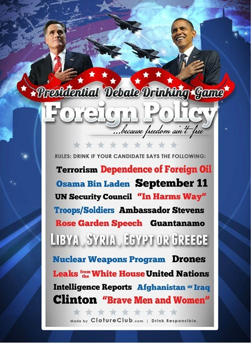 presidential debate,drinking game,foreign policy,election 2012,Romney,obama