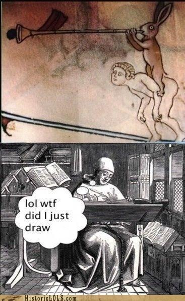 monk,manuscript,draw,rabbit,horn,wtf