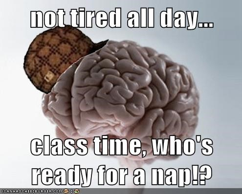 not tired all day...  class time, who's ready for a nap!?