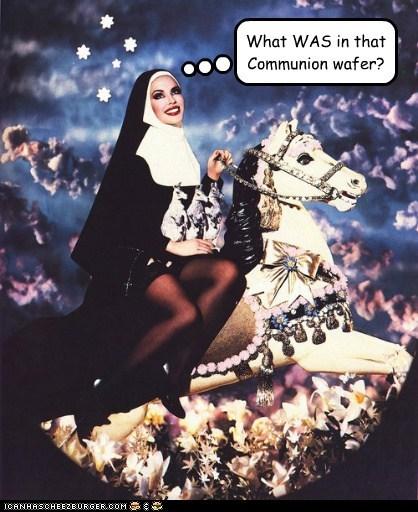 carousel,drugs,nun,horse