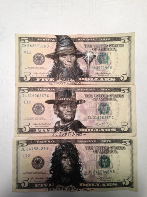 hacked irl,currency,art,design,wizard,abraham lincoln