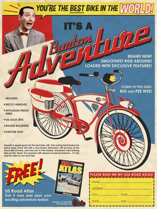 Pee-wee Herman's Bike Imagined as a Comic Book Ad