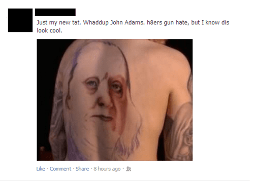 Benjamin Franklin,john adams,george washington,tattoo,Ugliest Tattoos