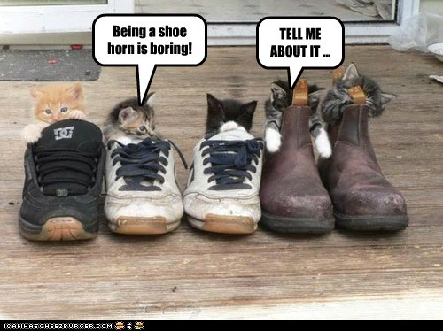 Being a shoe horn is boring!