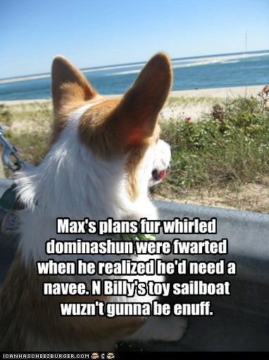 dogs,world domination,ocean,evil genius,corgi,plans
