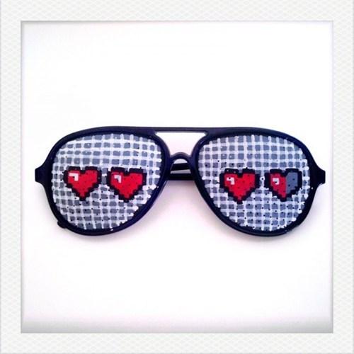 hand painted,sunglasses,retro,8 bit