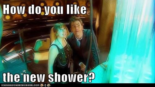 Catherine Tate,David Tennant,the doctor,shower,tardis,doctor who,donna noble