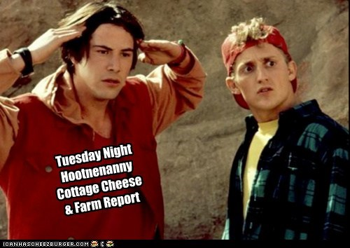 Tuesday Night  Hootnenanny Cottage Cheese  & Farm Report