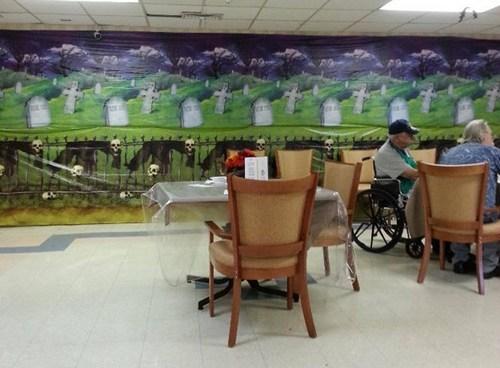 nursing home,irony,decorations,halloween,morbid,elderly