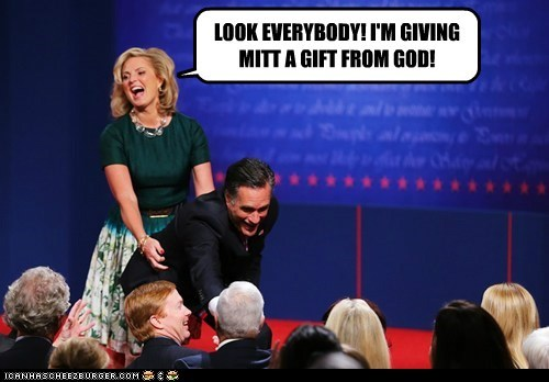 LOOK EVERYBODY! I'M GIVING MITT A GIFT FROM GOD!