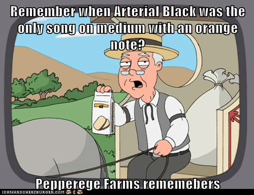 Remember when Arterial Black was the only song on medium with an orange note?  Pepperege Farms rememebers