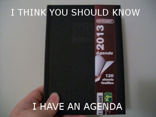 agenda,literalism,double meaning,fyi