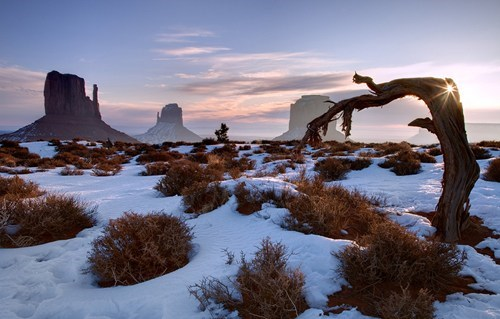 Sunlight on the Snow in Monument Valley