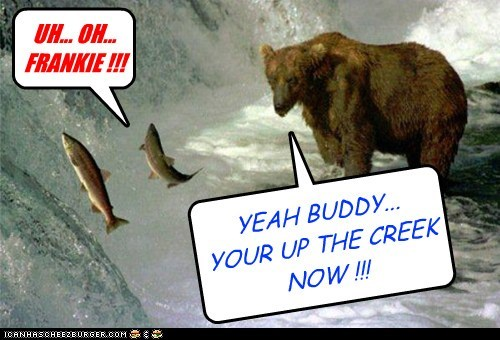 fishing,uh oh,expression,up the creek,bear,eating,fish