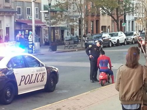 arrested,police,traffic ticket,Spider-Man,ticket