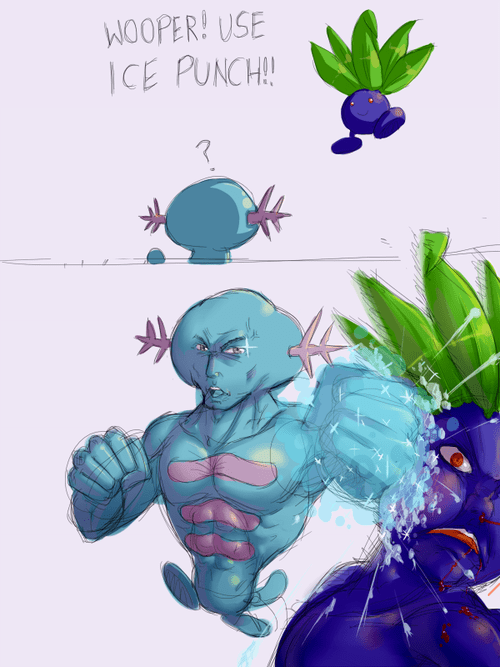 ice punch,oddish,wooper,comic
