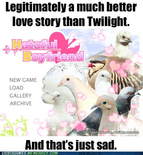 better love story than twilight,dating sim,pigeons