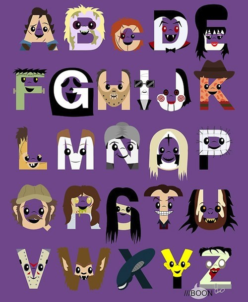 halloween,Movie,alphabet,monster,ghoulish geeks,fan art,famously freaky