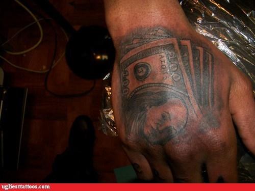 hand tattoos,money