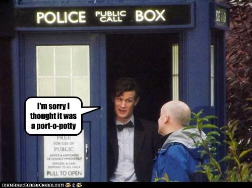 port-o-potty,the doctor,police box,Matt Smith,doctor who,sorry