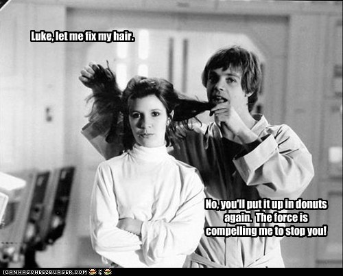 hair,donuts,the force,luke skywalker,carrie fisher,Princess Leia,Mark Hamill