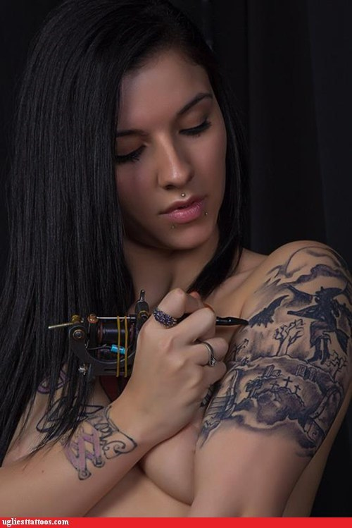 halloween,witch,graveyard,self tattoo