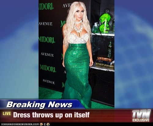 Breaking News - Dress throws up on itself